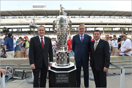 INDIANAPOLIS IN - MAY 27, 2012: ESPN on air talent Marty Reid, Eddie Cheever and Scott Goodyear pose with the Borg-Warner Trophy prior to the IZOD IndyCar Series 96th running of the Indianapolis 500 at the Indianapolis Motor Speedway<br /> (Photo by Phil Ellsworth / ESPN)<br /> - RAW FILE AVAILABLE -